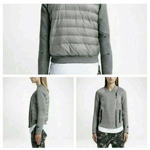 Nike Womens Gray Tech Fleece Aeroloft Moto Jacket